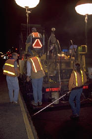 Night paving.