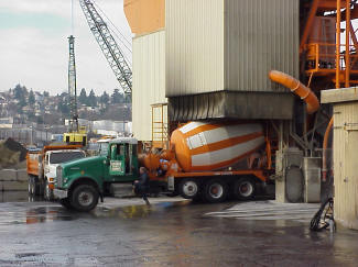 Loading PCC for truck mixing.