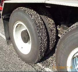 Peeling of Fresh Seal Coats on truck tires