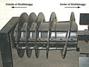 Roadtec Shuttle Buggy patented remixing auger.