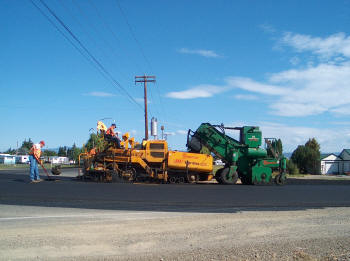 Windrow paving.