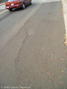 Block cracking in a parking lane.