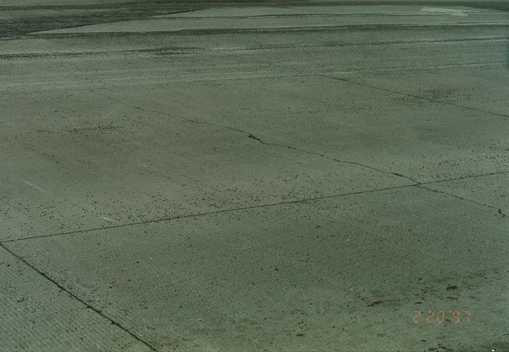 Shrinkage cracking on new slabs.