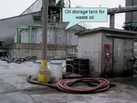 Recycled oil is delivered to Lafarge and burned in the kiln.