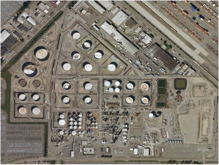 Aerial view of the US Oil and Refining Company refinery.