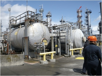 Water is removed from the crude oil via a desalting process in vessels like these