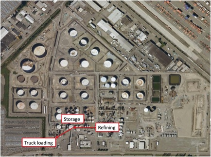 The pathway from refining to transport is briefly shown interposed on an aerial map of US Oil and Refining Co.