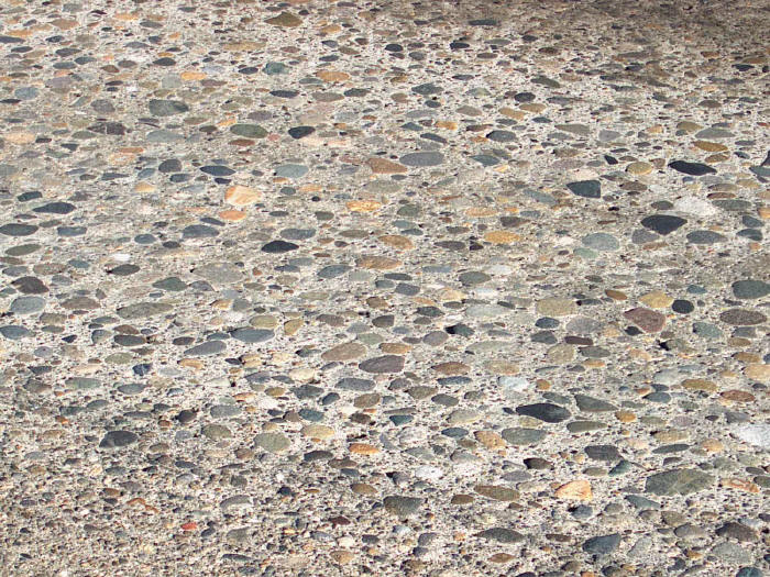 Polished PCC aggregate after 40 years of wear.