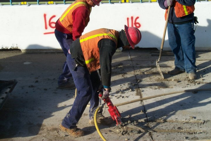 Maintain jackhammer at no more than a 45-degree angle.