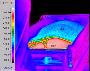 Infrared picture of a truck dumping HMA with cold surface layer crust (blue) and the hot inner mass (red.)