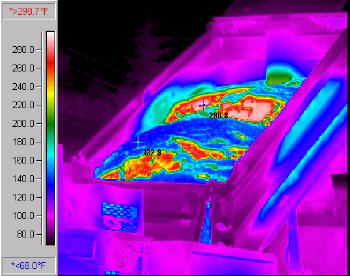 Infrared picture of a truck dumping HMA with cold surface layer crust (blue) and the hot inner mass (red)