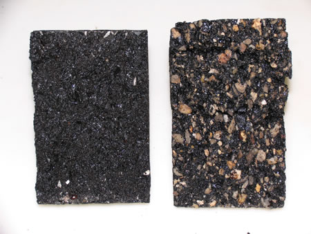HMA samples with no moisture damage (left) and moisture damage (right). Notice the amount of uncoated aggregate on the damaged sample.