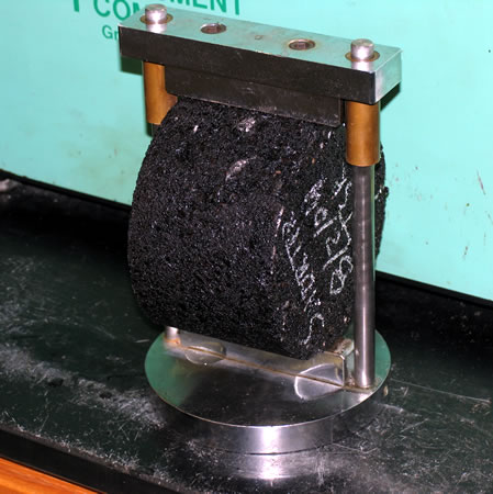 Sample placed between the bearing plates before testing.