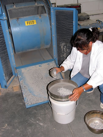 Sieving the sample after the L.A. abrasion test