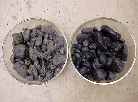 Aggregate on left has severe stripping., right has 0.5 percent by weight asphalt binder antistripping modifier.