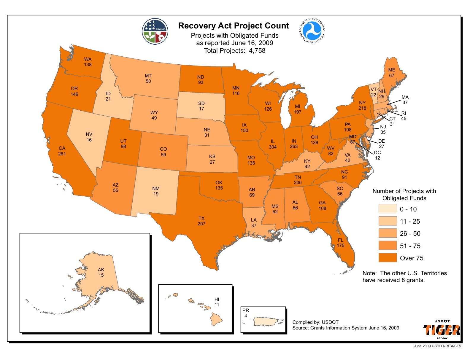 The U.S. DOT maintains the map below, which summarizes the number of Obligated projects at the state level